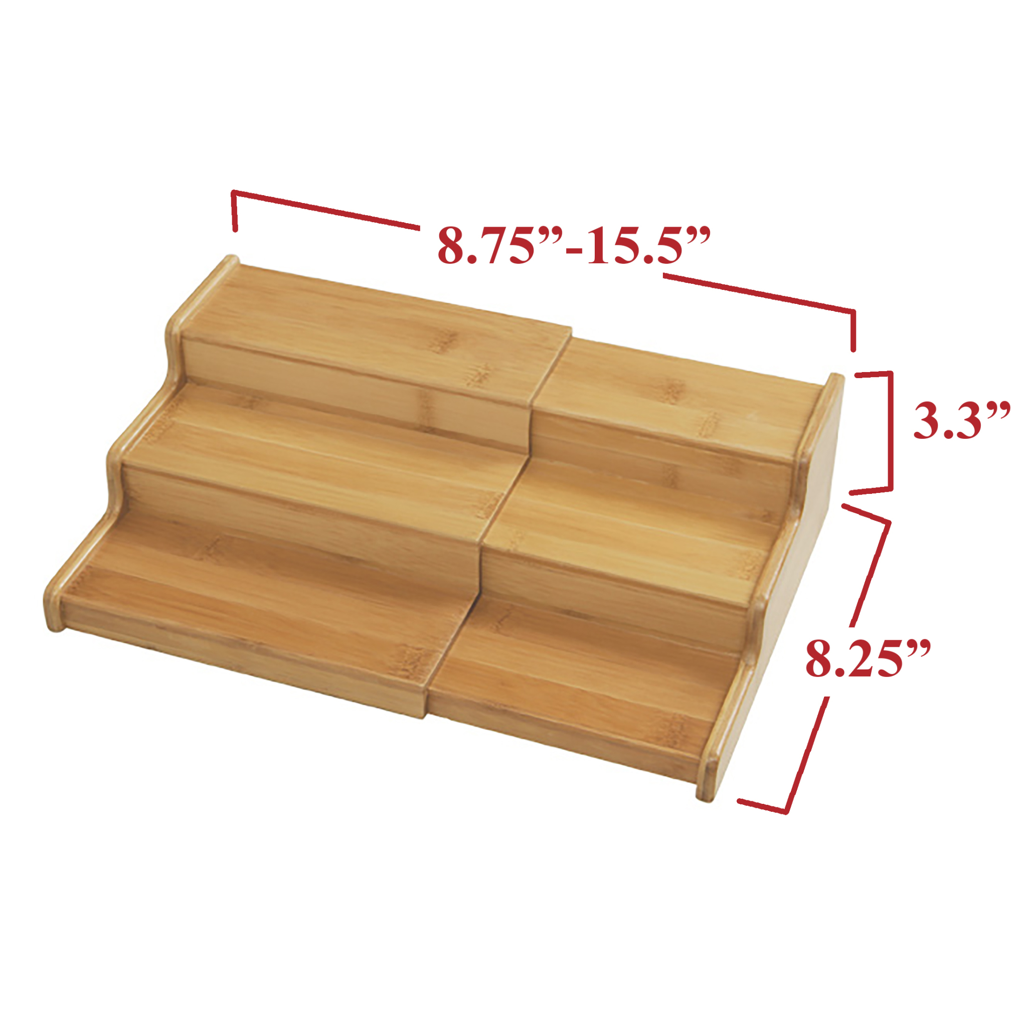3 tier expandable bamboo step shelf spice rack by seville classics