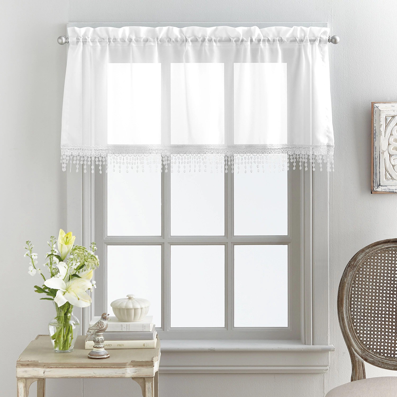 mainstays macrame tailored curtain valance 180 x 500 white