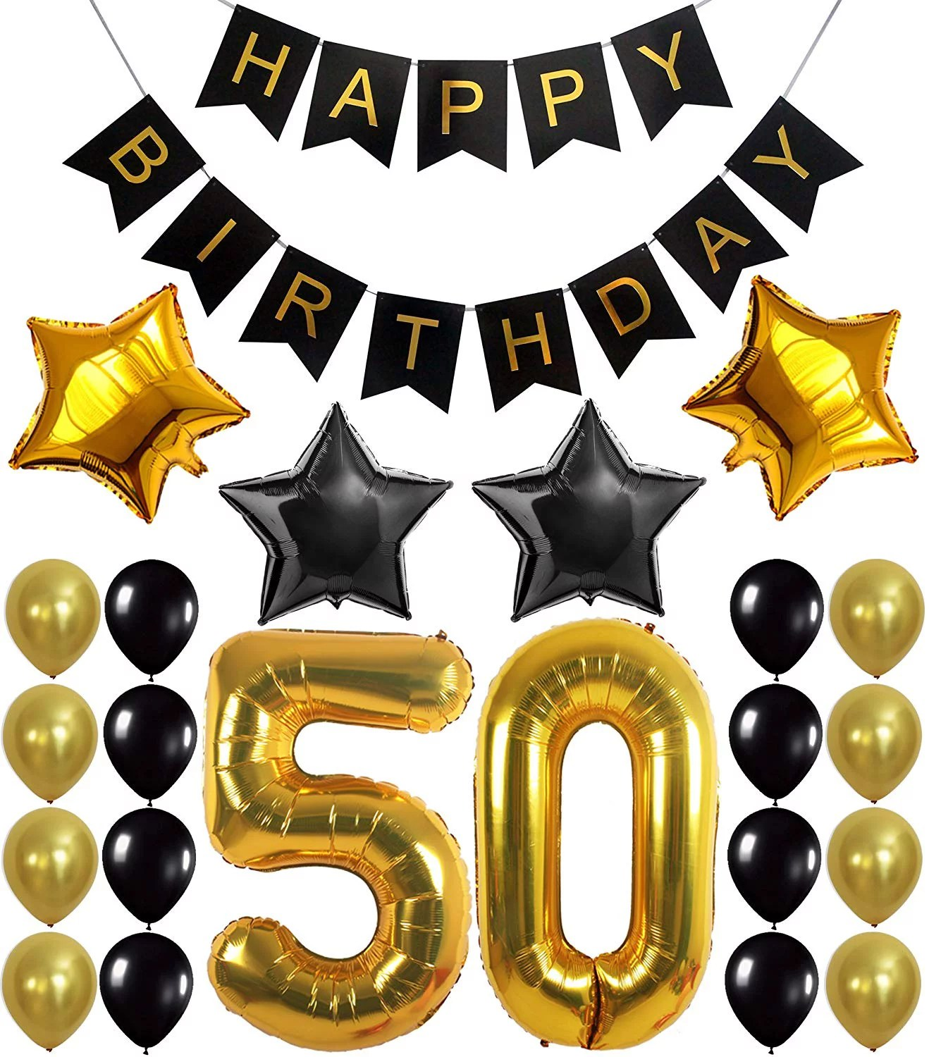 50th Birthday Decorations Kit Large Pack Of 26 Number 5 And 0 Party Balloons Supplies Black Happy Birthday Banner Perfect For 50 Years Old Decor Walmart Com Walmart Com