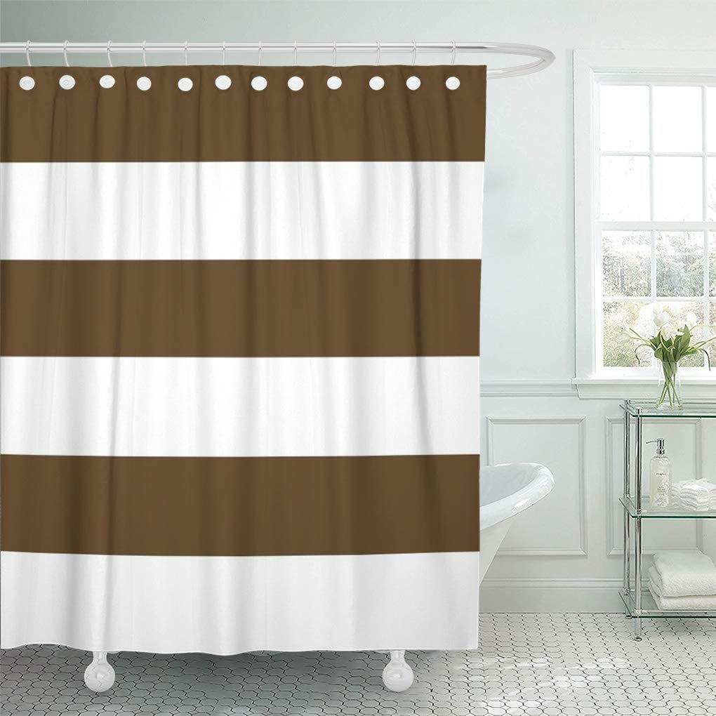 suttom brown pattern chocolate and white bold striped lines living shower curtain 66x72 inch walmart com