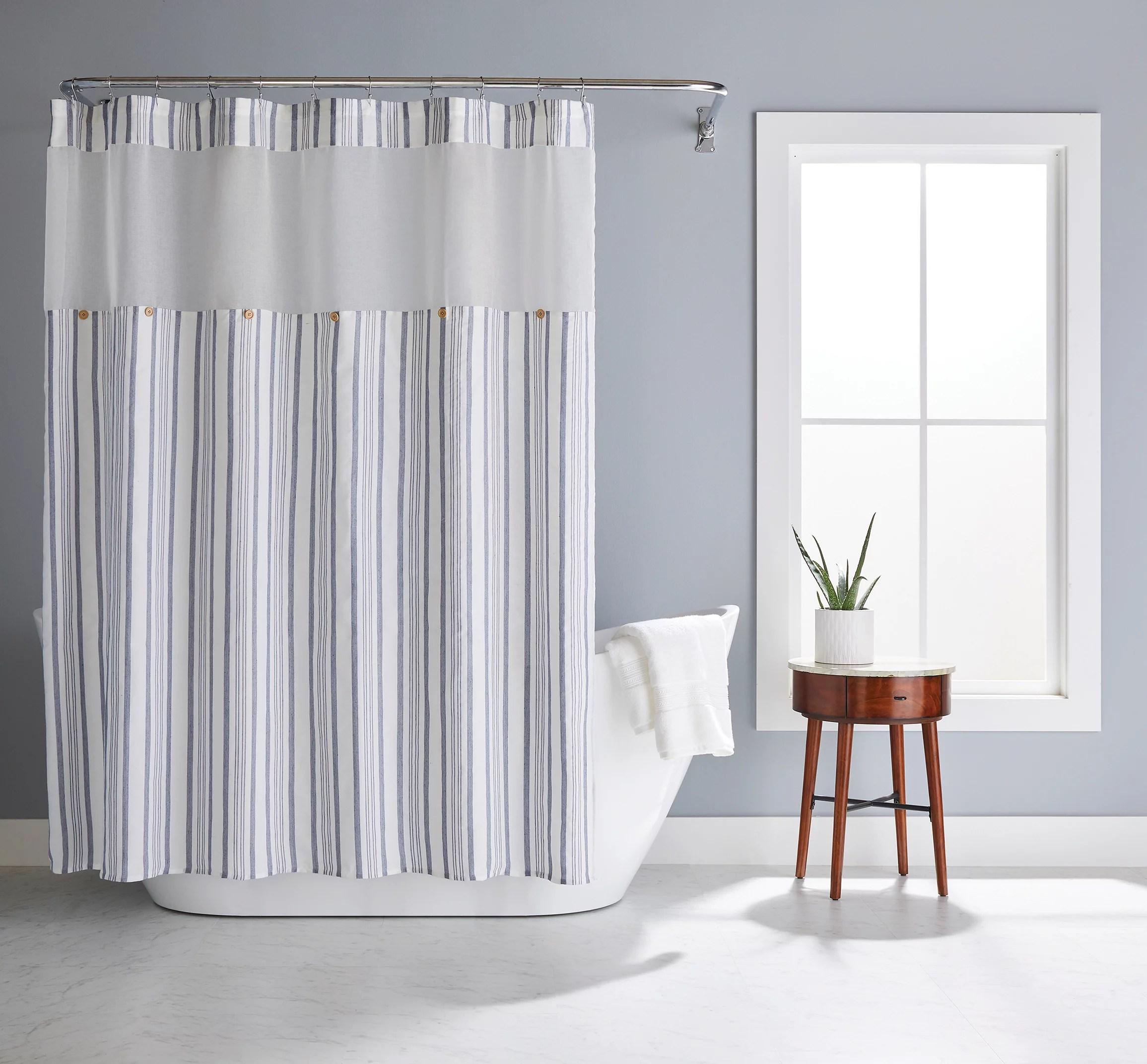 better homes gardens blue stripe polyester shower curtain blue white 72 x 72 walmart com