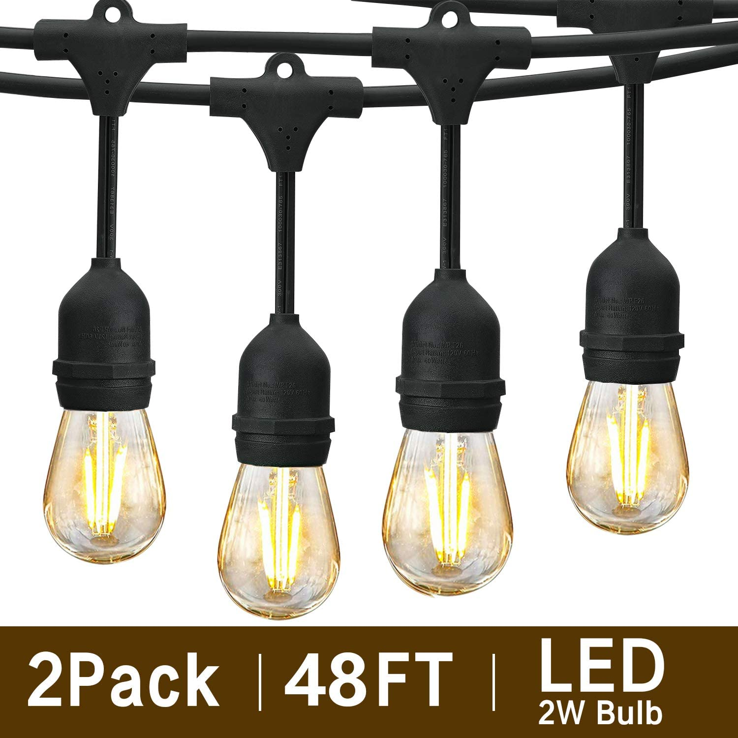 svater 96ft outdoor string lights 2pack 48ft patio lights plug in with 2w led glass bulb dimmable 2700k warm white commercial grade ip65 waterproof