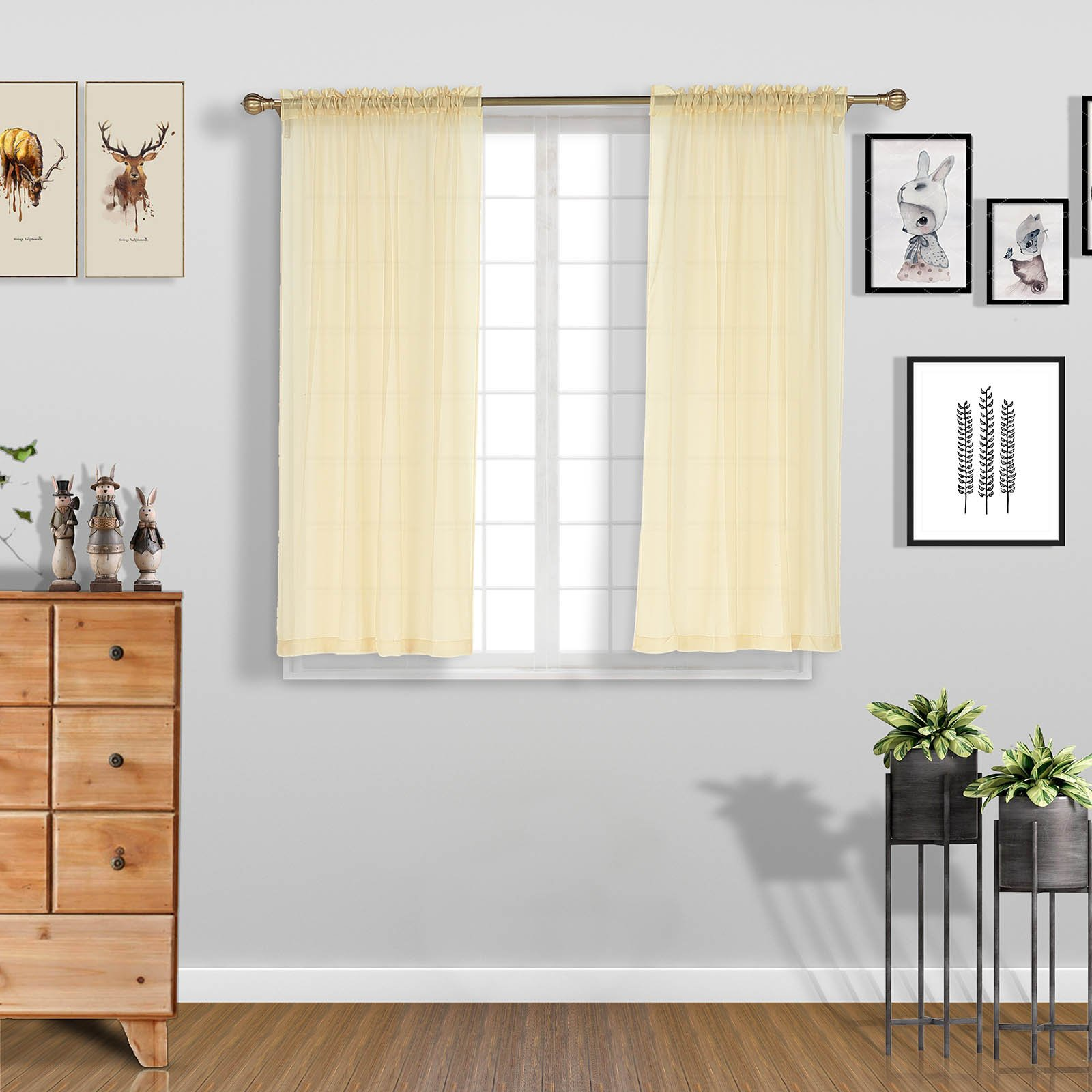 2 pack 52 x64 champagne sheer organza curtains with rod pocket window treatment panels walmart com