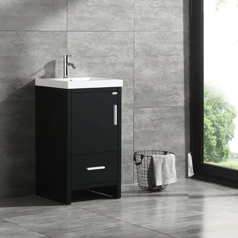 walcut 18 modern bathroom vanity cabinet wood with top basin vessel sink faucet combo walmart com