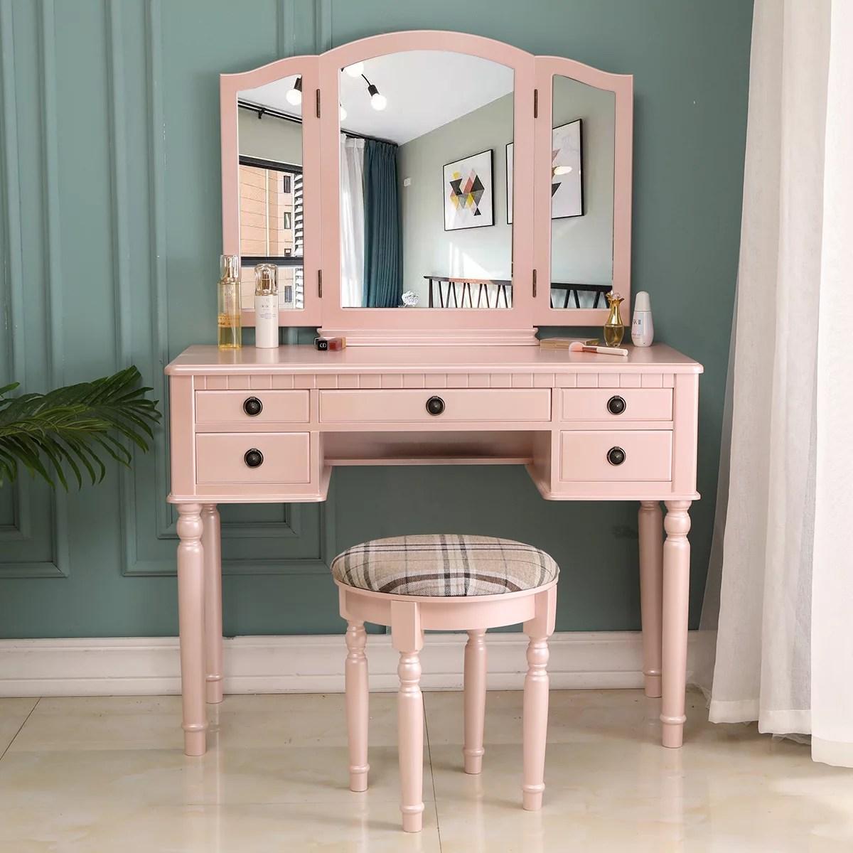 zimtown vanity makeup dressing table set w stool 5 drawer tri folding mirror jewelry wood desk furniture fluorescent pink
