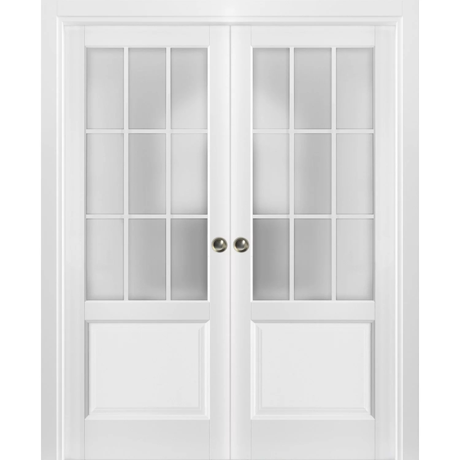 sliding french double pocket doors 72 x 80 inches frosted glass 9 lites
