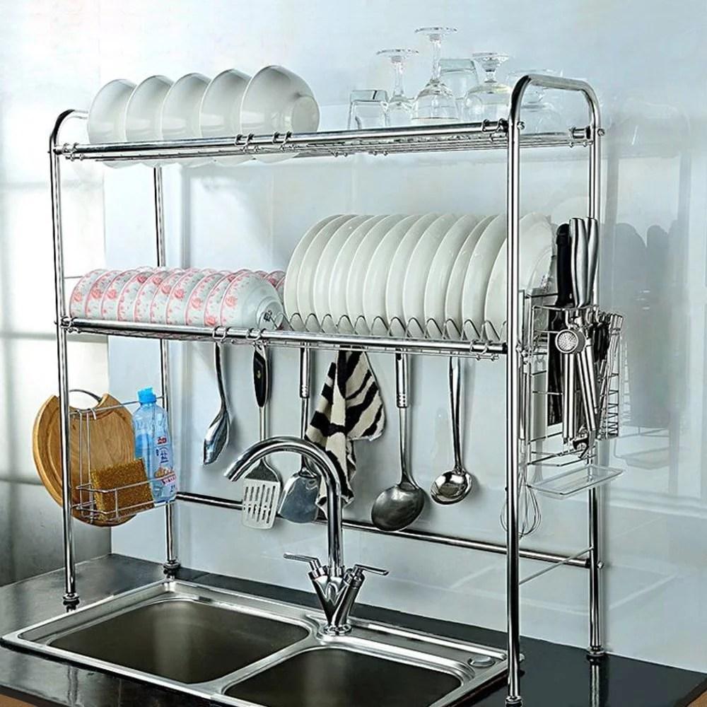 nex 2 tier adjustable 35 37 x 10 5 x 33 dish rack stainless steel walmart com