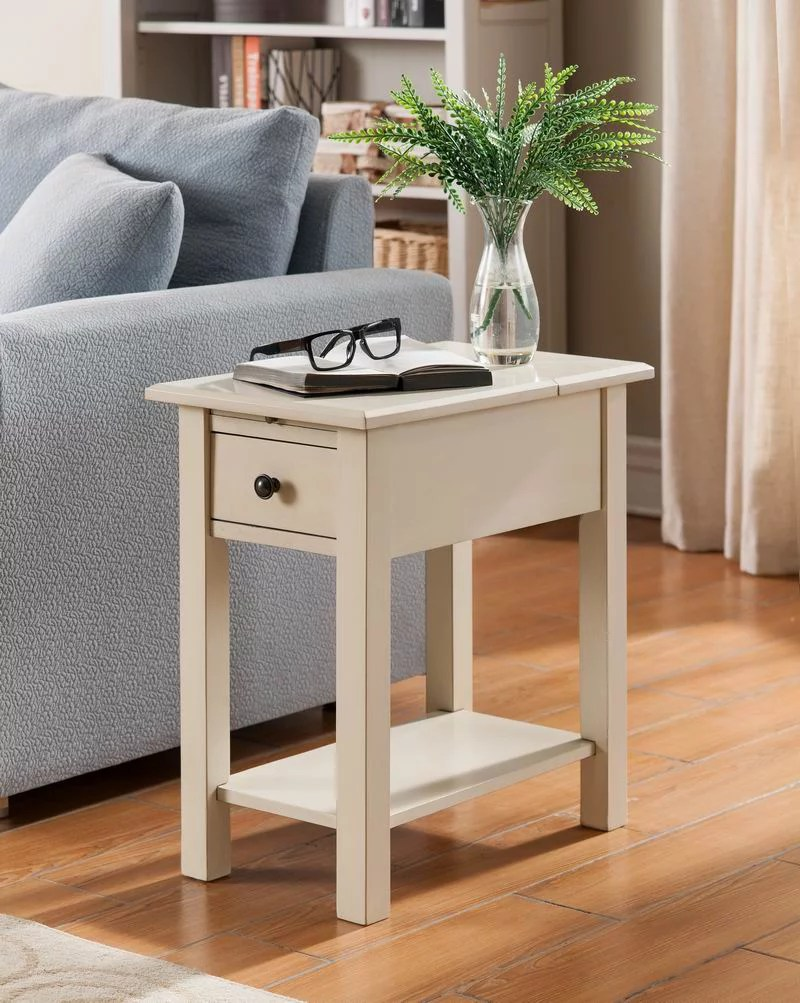 sutton side table with usb charging station in antique white