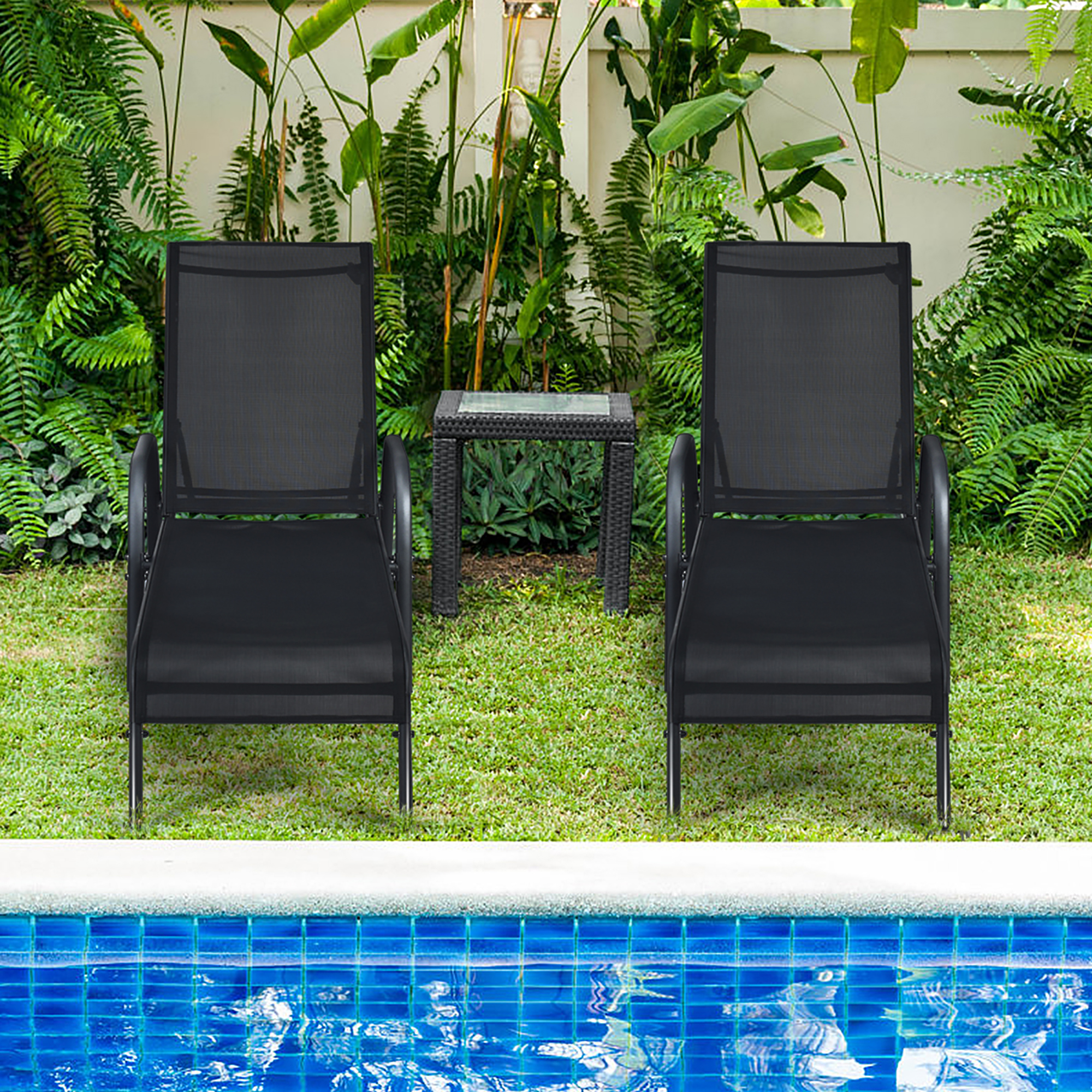 costway set of 2 patio lounge chairs sling chaise lounges recliner adjustable walmart com