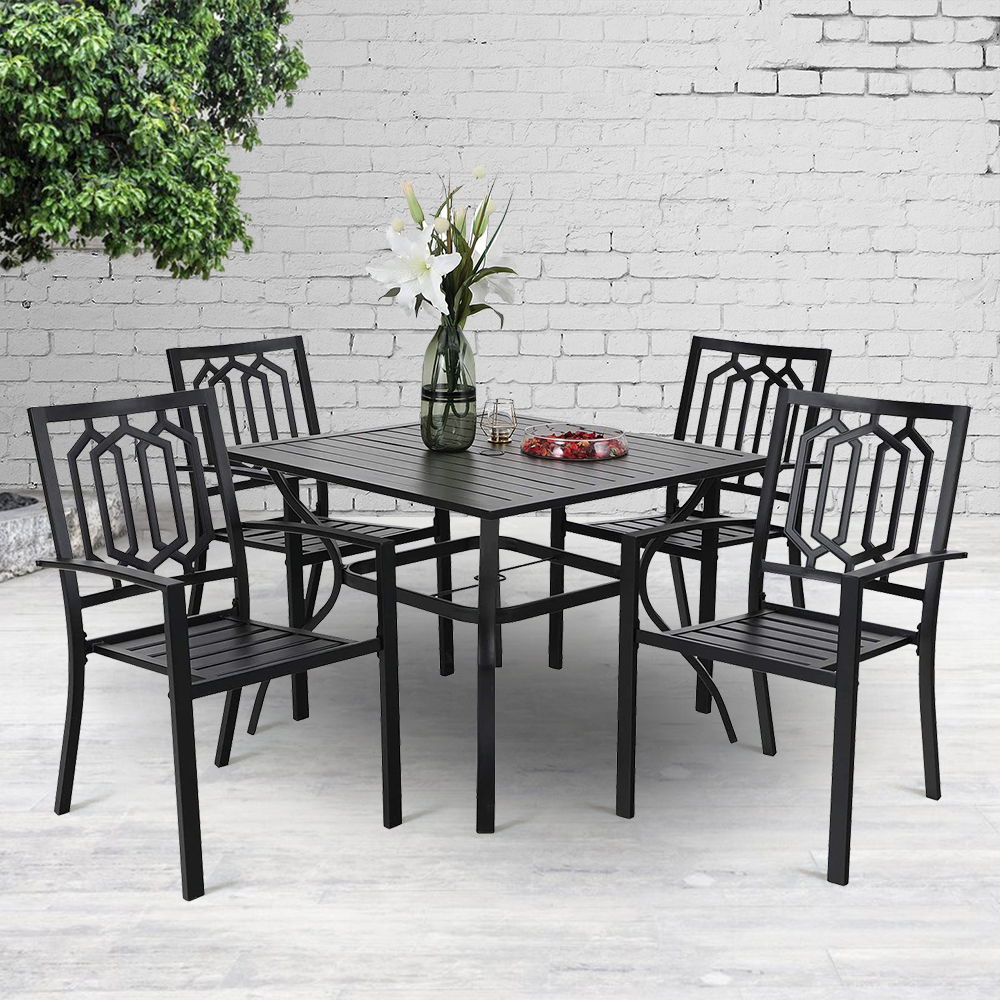 mf studio 5pcs outdoor dining sets metal patio furniture with 4pcs backyard garden chairs and 1pc dining table with 1 57 umbrella hole suitable for