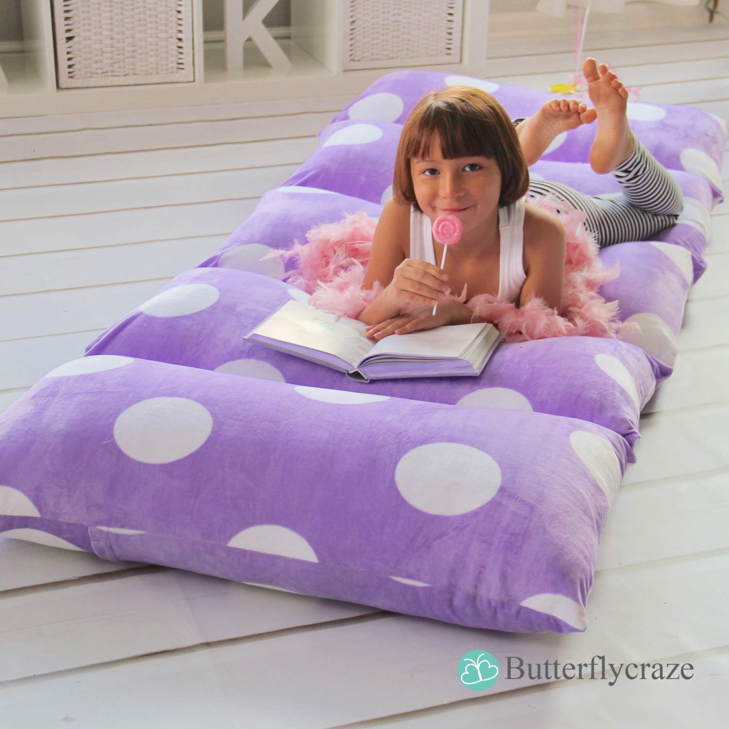 butterfly craze girl s floor lounger seats cover and pillow cover made of super soft luxurious premium plush fabric perfect reading and watching tv