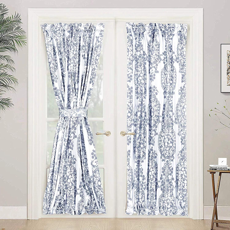 driftaway samantha door curtain thermal room darkening privacy french door panel for patio sliding window single rod pocket curtain with bonus