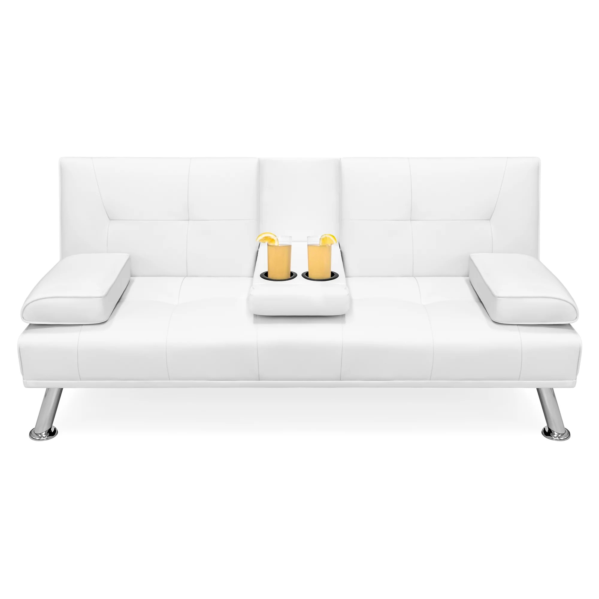 Details About Modern Futon Sofa Bed Faux Leather Fold Up Down Recliner Couch W Cup Holders
