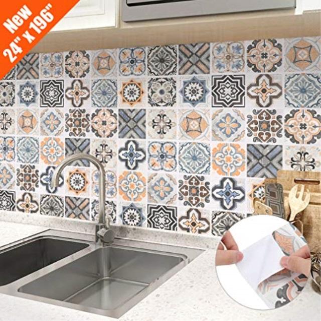 oxdigi peel and stick wallpaper for kitchen backsplash shelf liner staircase moroccan tile graphic pattern self adhesive wallpaper decorative