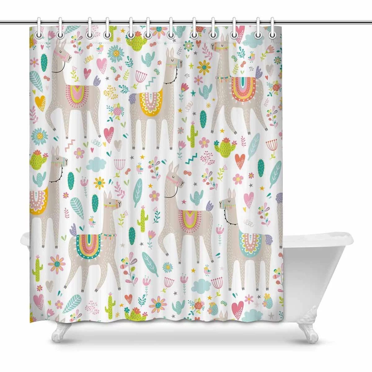 MKHERT Funny Llama Cactus And Flower House Decor Shower Curtain For Bathroom Decorative Bathroom