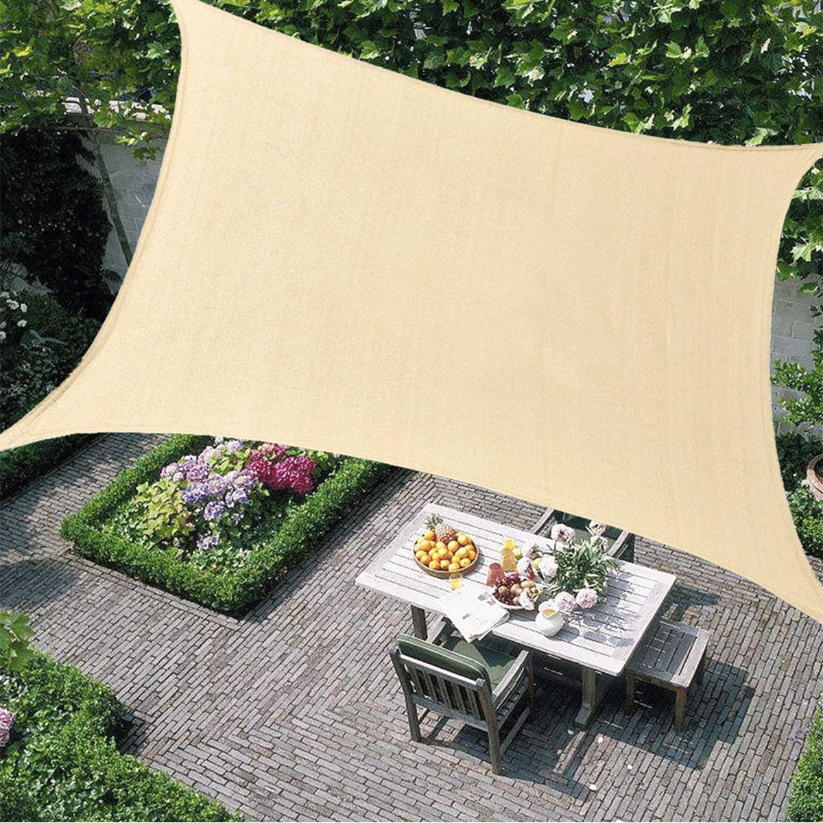 rectangle sun sail canopy heavy duty shade outdoor patio cover uv block sunshade fabric awning shelter for patio outdoor garden light beige
