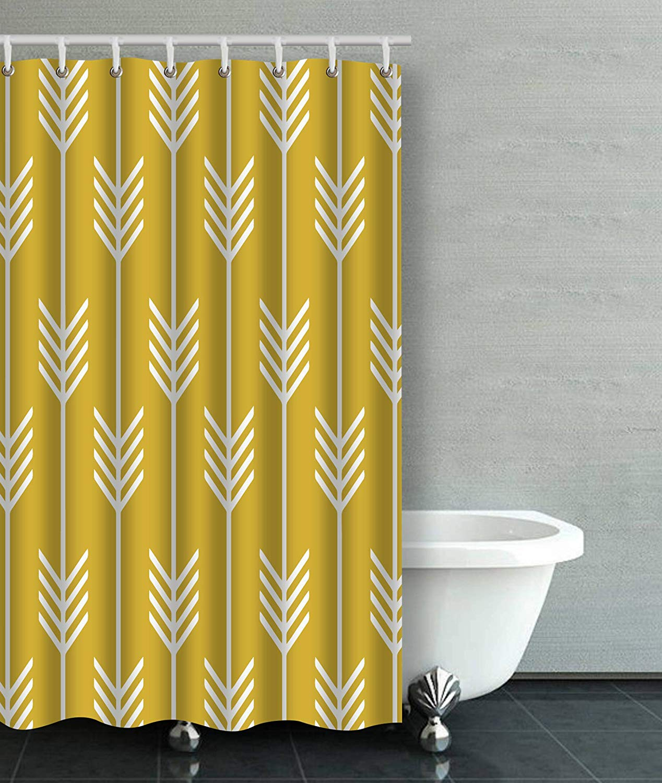 artjia modern arrow fletching pattern mustard yellow bathroom shower curtain 48x72 inches