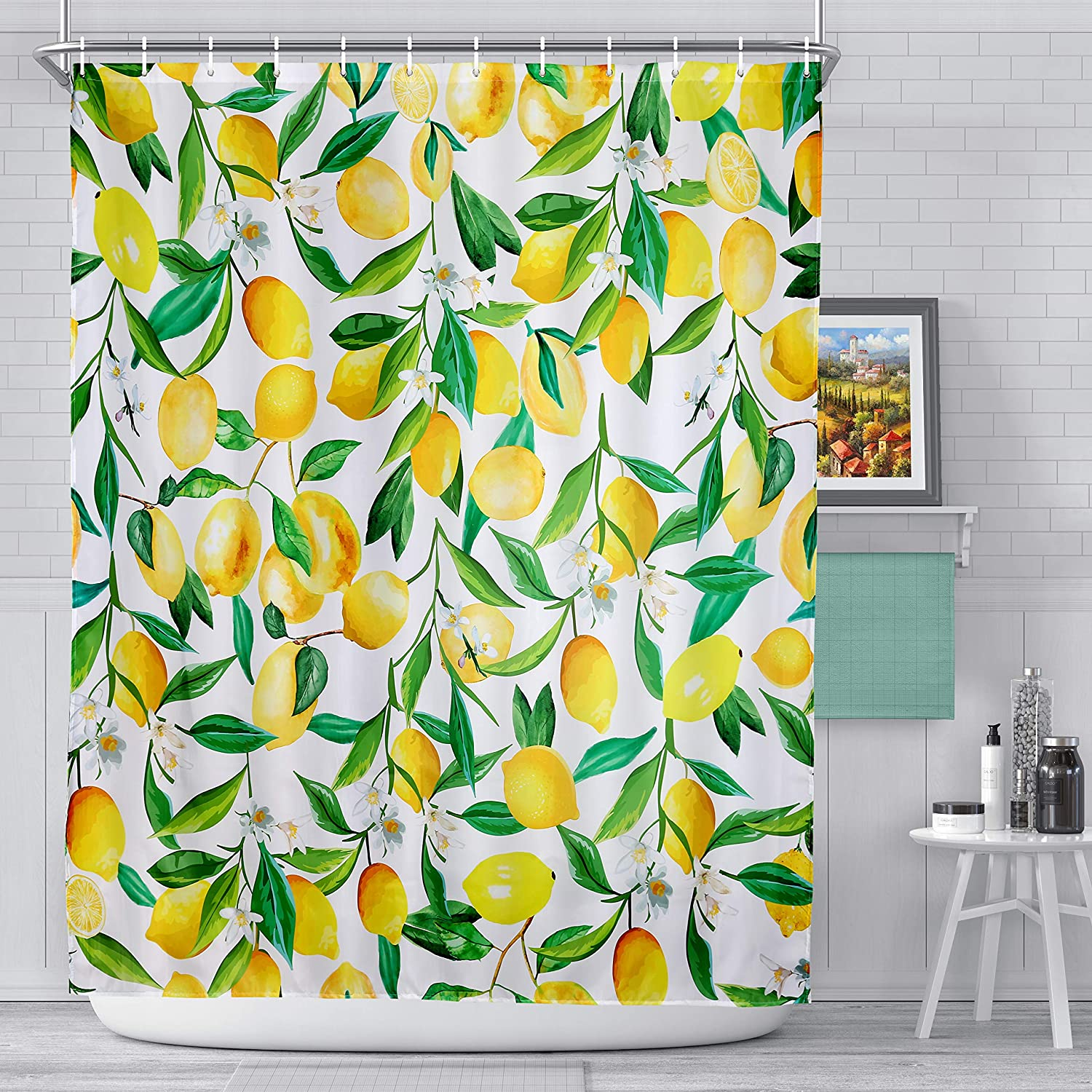 fabric shower curtain with hooks polyester fabric machine washable shower curtains 72 x 72 yellow lemon patter