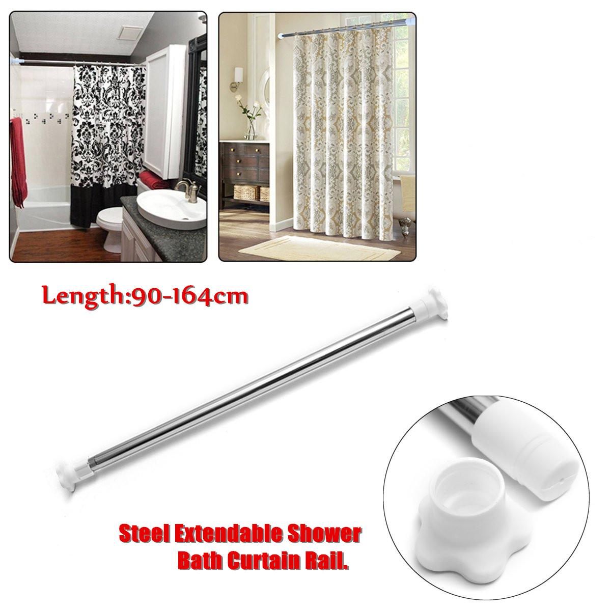extendable steel telescopic shower curtain rail pole bathroom tension rod bath wardrobe window home room door