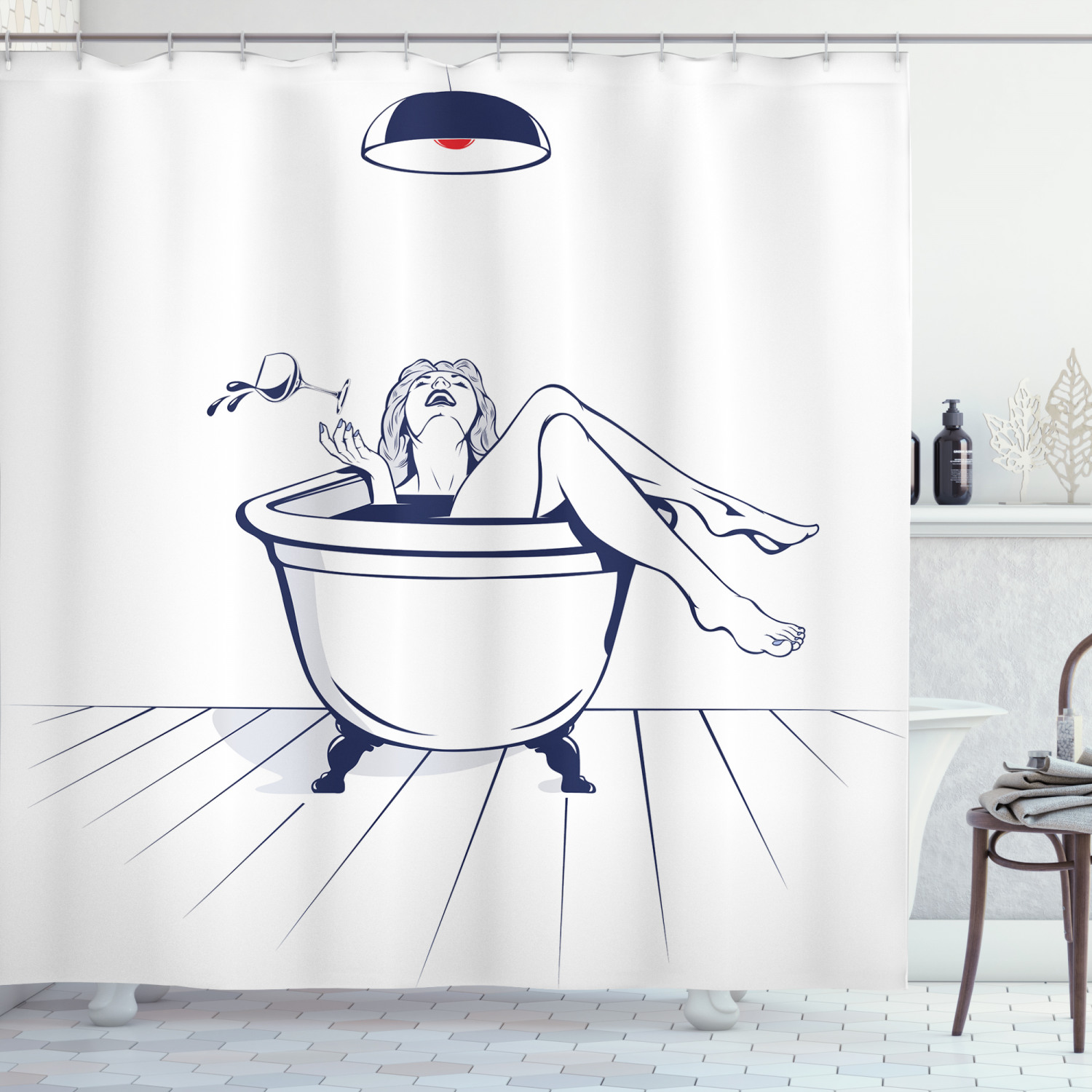 wine shower curtain young beautiful woman relaxing on the bathroom with glass of wine drawing art fabric bathroom set with hooks dark blue red