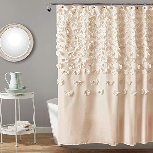 lush decor lucia shower curtain fabric ruched floral textured shabby chic farmhouse style design 72 x 72 ivory