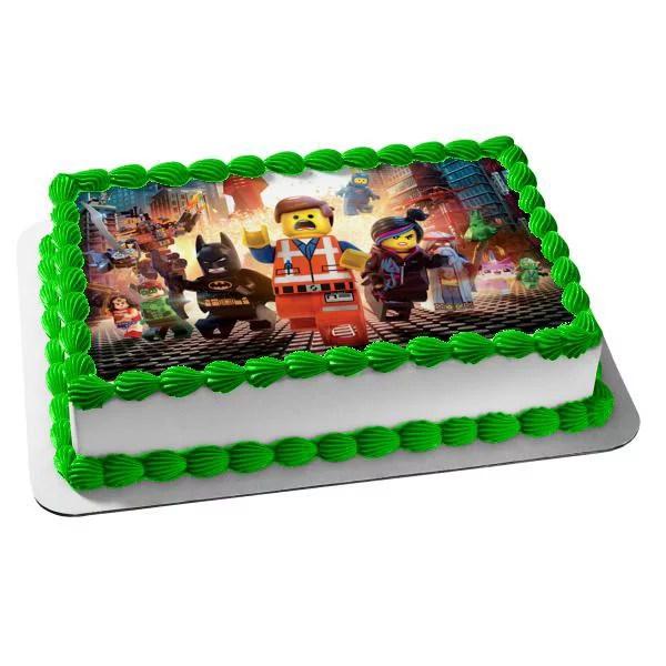 Lego Movie Batman Emmet Lucy Green Lantern Wonder Woman Rex Edible Cake Topper Image Abpid03660 Walmart Com Walmart Com