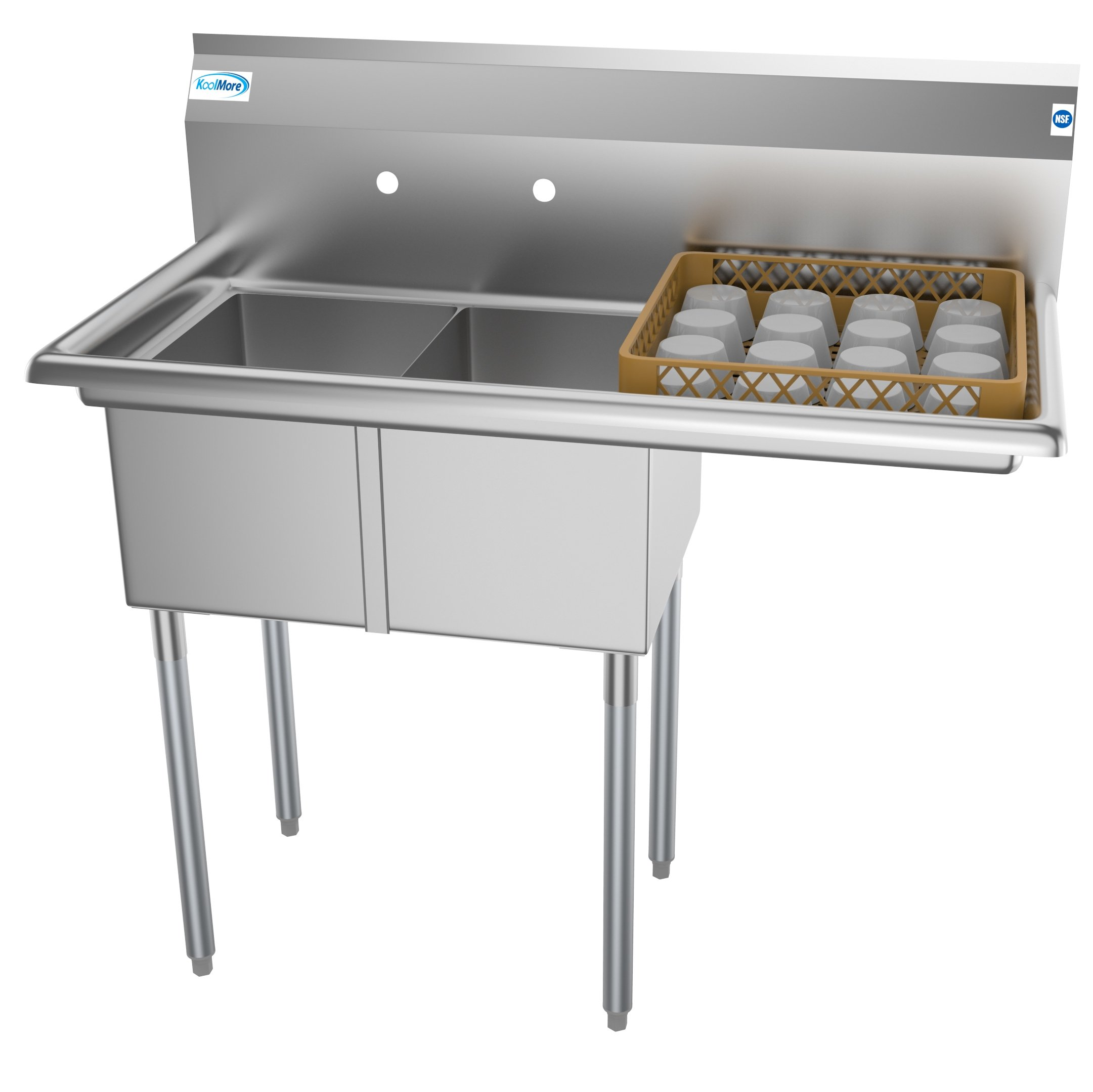 2 compartment 43 stainless steel commercial kitchen prep utility sink with drainboard bowl size 12 x 16 x 10