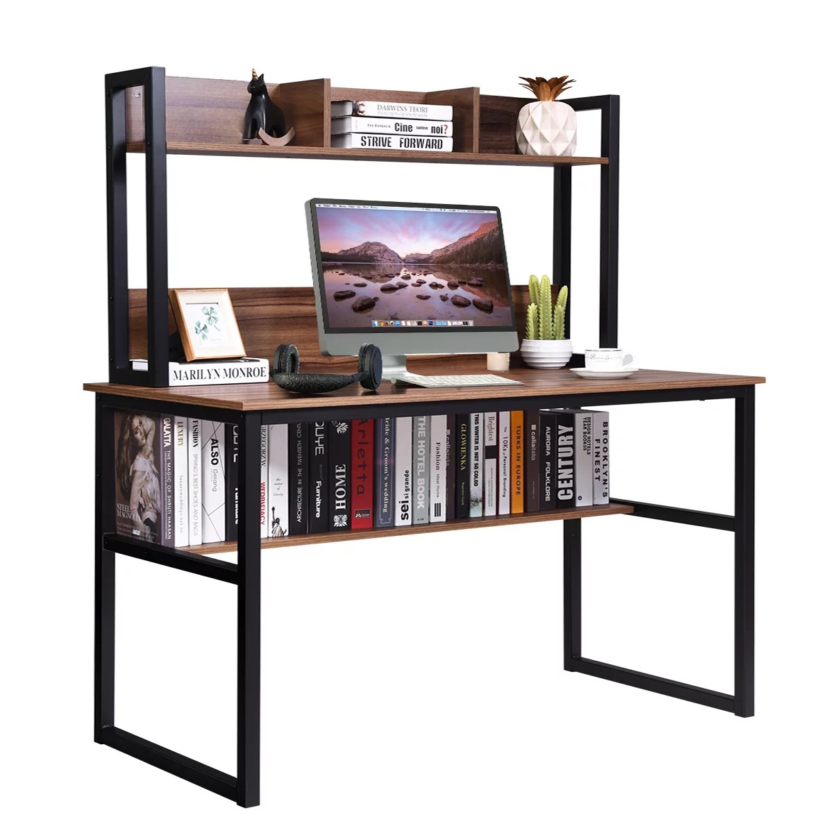 costway computer desk with hutch bookshelf home office study wrting desk space saving
