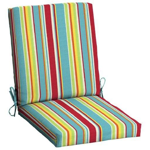 mainstays multi stripe 43 x 20 in 1 piece outdoor dining chair cushion walmart com