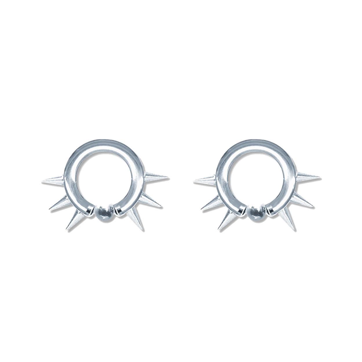 Lex Amp Lu Pair Of Steel Captive Bead Hoop Ring Earrings W Cones 10 6 Gauge