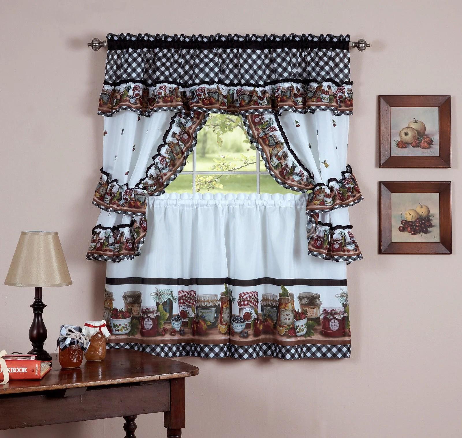 mason jars complete cottage style kitchen curtain set 24 in length walmart com
