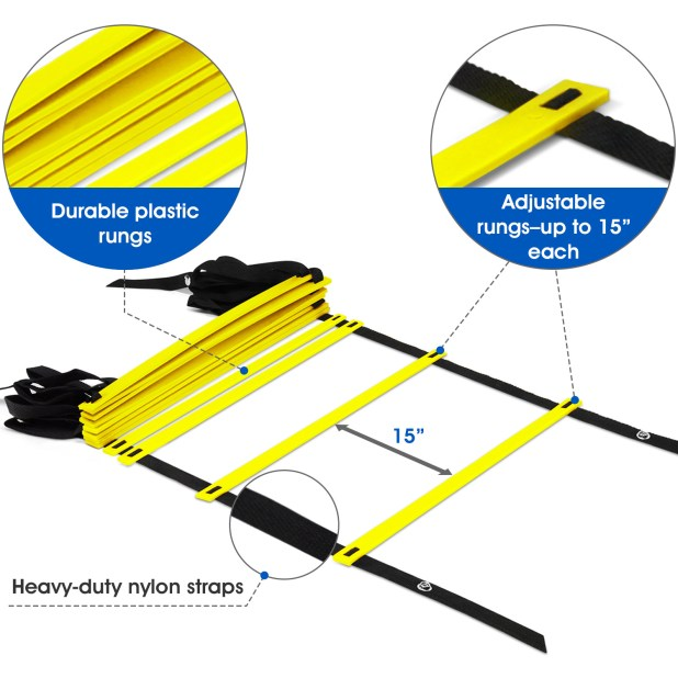 Yes4All Velocity and Agility Coaching Ladder with Carry Bag – 12 Rung (Yellow) 84453ceb de7a 4cff a942 25875ed08248 1