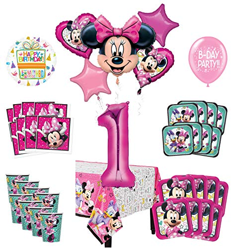 Mayflower Products Minnie Mouse And Friends 1st Birthday Party Supplies 8 Guest Decoration Kit And Balloon Bouquet Walmart Com Walmart Com
