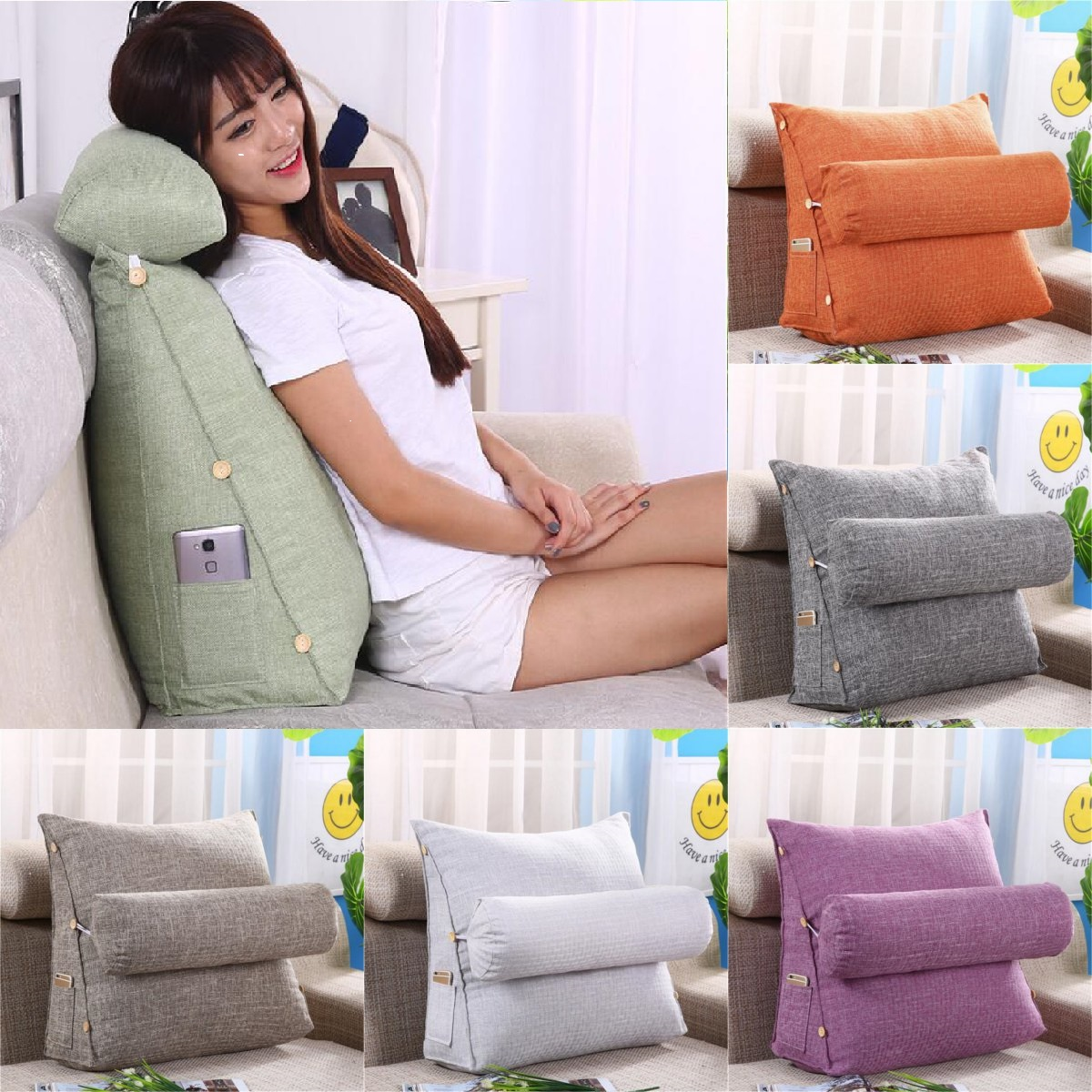24x20x8inch large wedge shaped reading and tv pillow with adjustable neck pillow triangle pillow back support adjustable back wedge cushion rest