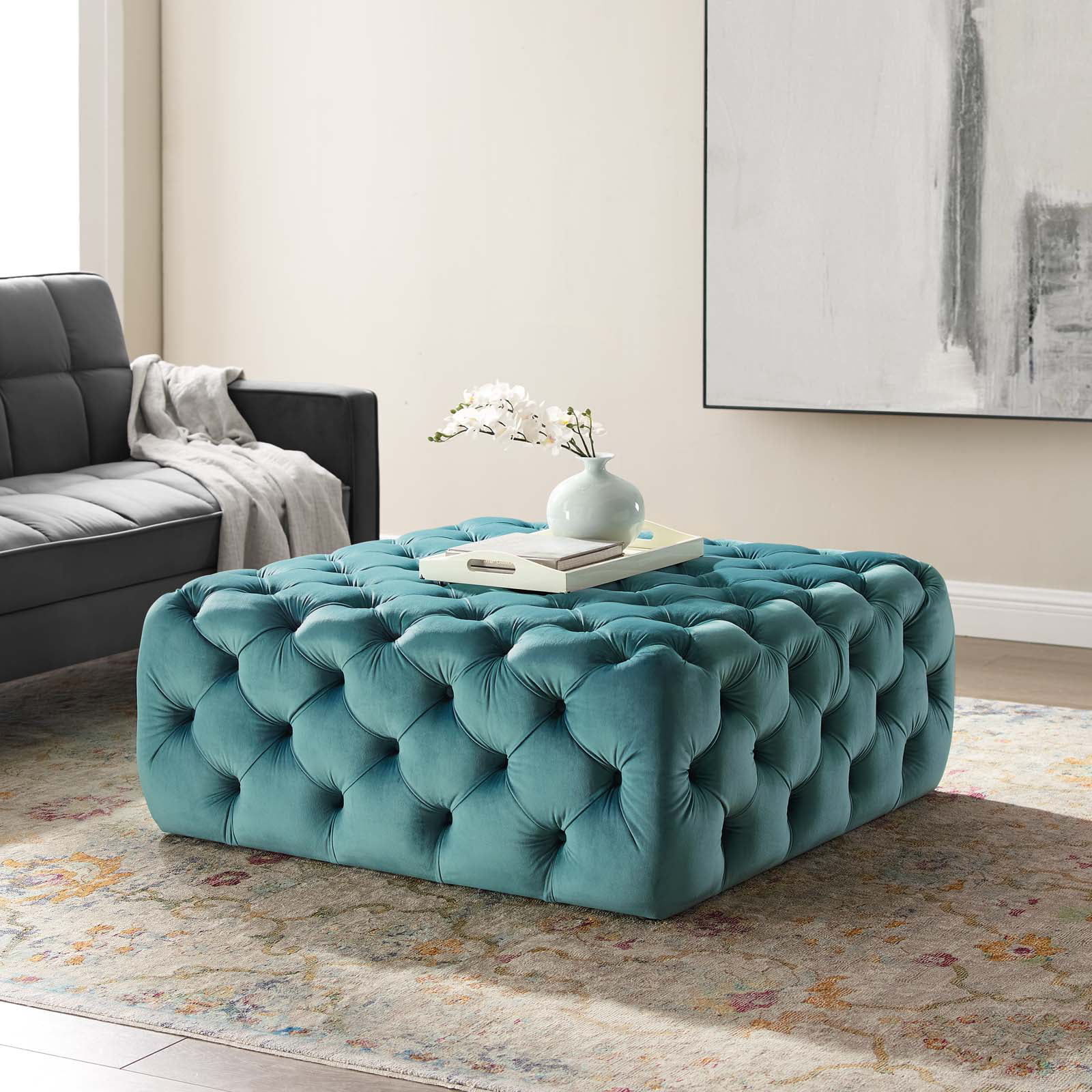 anthem tufted button large square performance velvet ottoman in navy