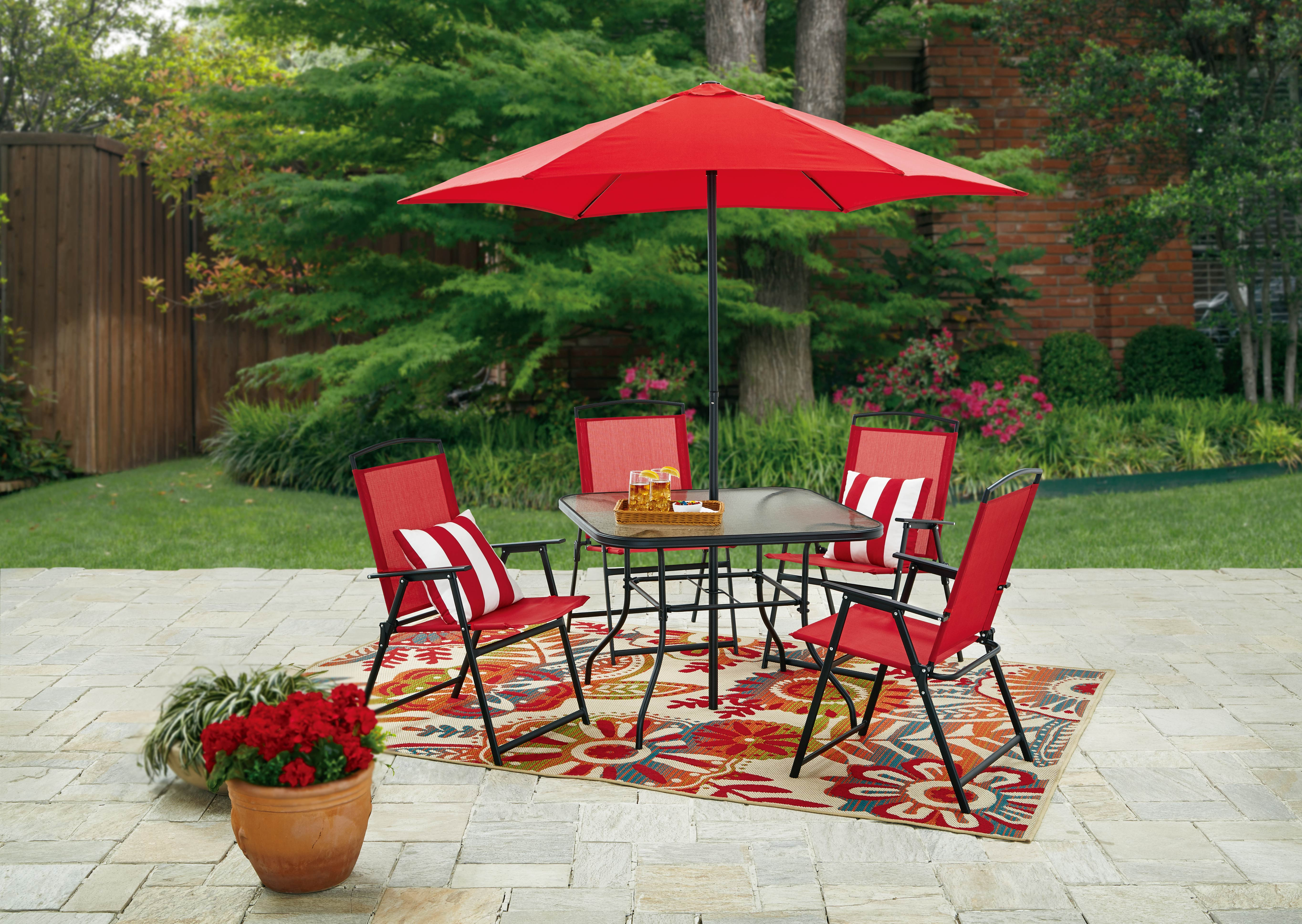mainstays lakewood heights folding patio dining set 6 piece red