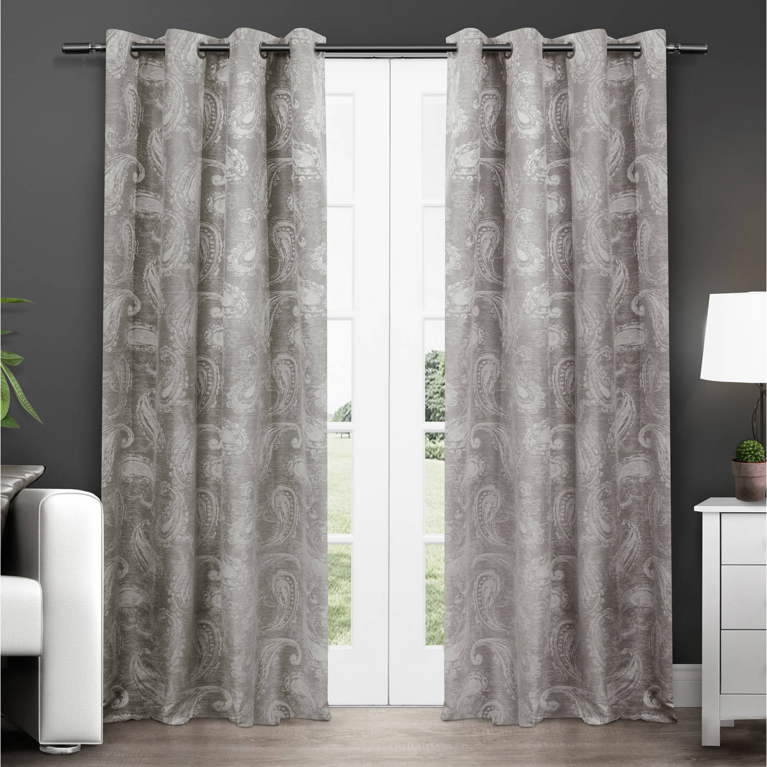 Exclusive Home Bangalore Paisley Thermal Window Curtain Panel Pair With Grommet Top