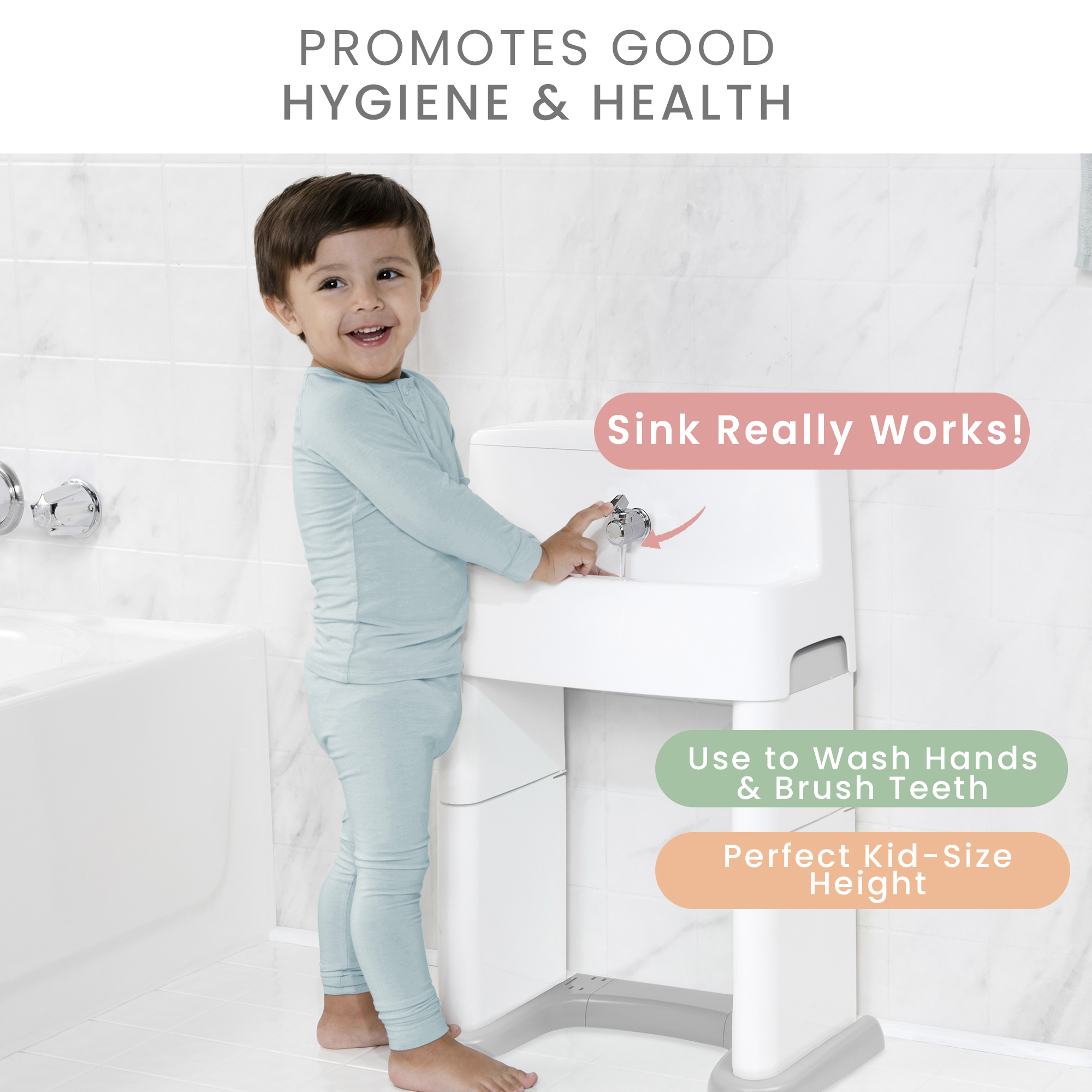 delta children perfectsize 3 in 1 convertible sink step stool and bath toy for kids white grey