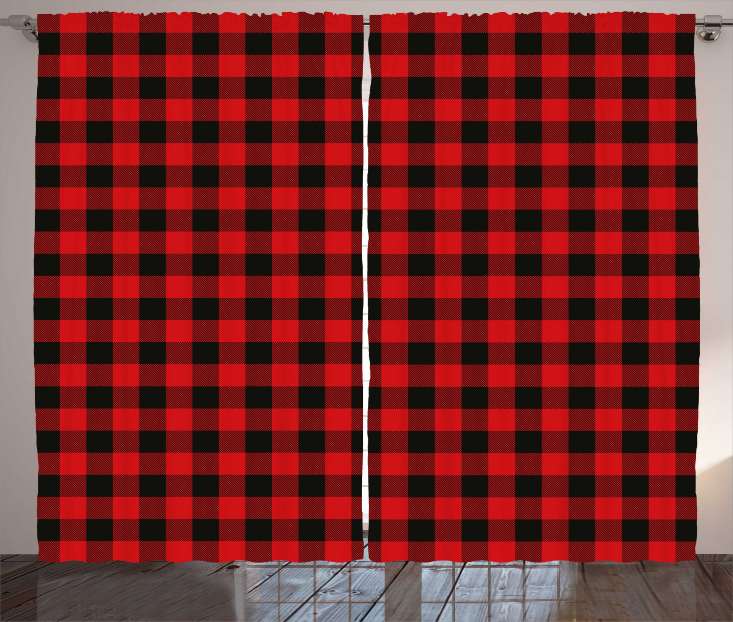 red plaid curtains 2 panels set lumberjack clothing inspired square pattern checkered grid style quilt design window drapes for living room bedroom