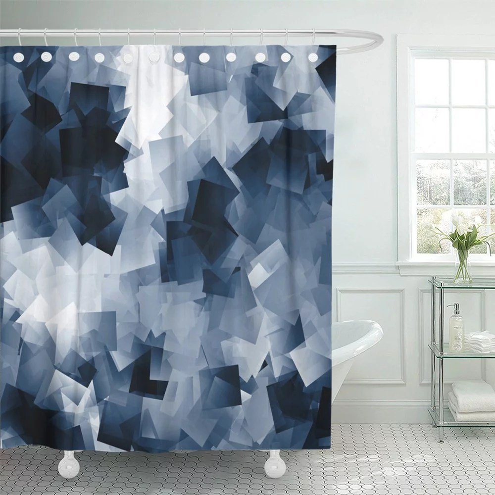 pknmt gray abstract white and navy blue cubes scraps of black blank blocks board book shower curtain bath curtain 66x72 inch