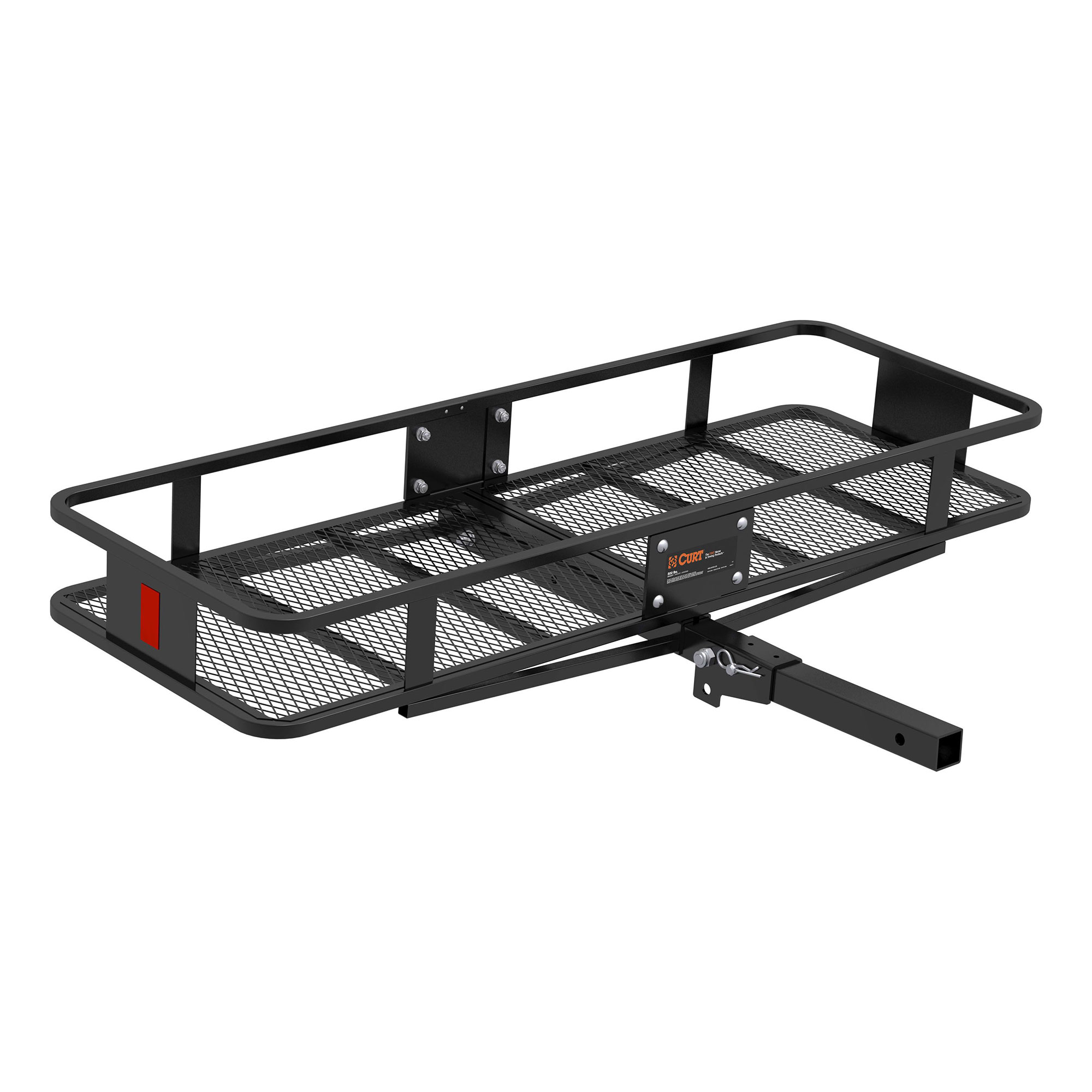 curt hitch 18151 trailer hitch cargo carrier mounts in 2 inch receiver 500 pound capacity 60 inch x 20 inch x 6 inch mesh folding