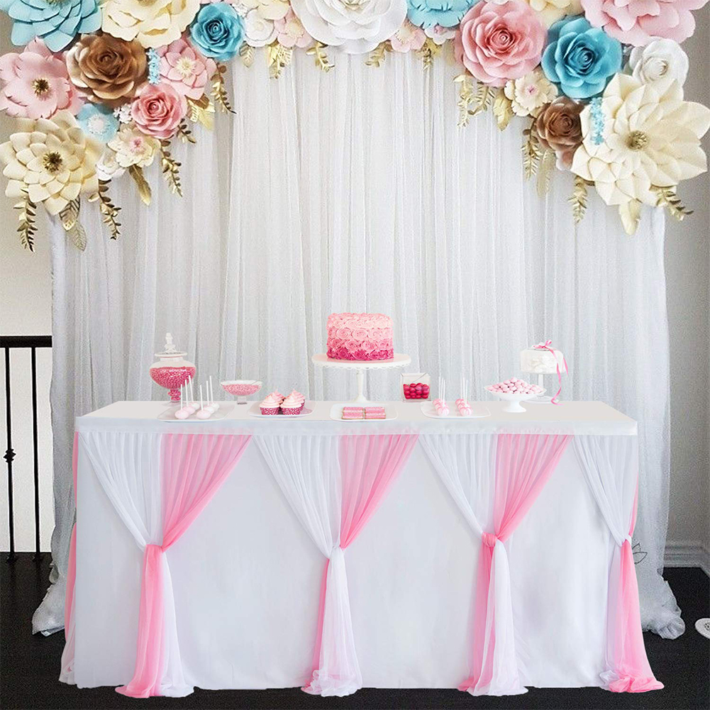 diy cross knot tulle table skirt for baby shower birthday party wedding round rectangle table decor