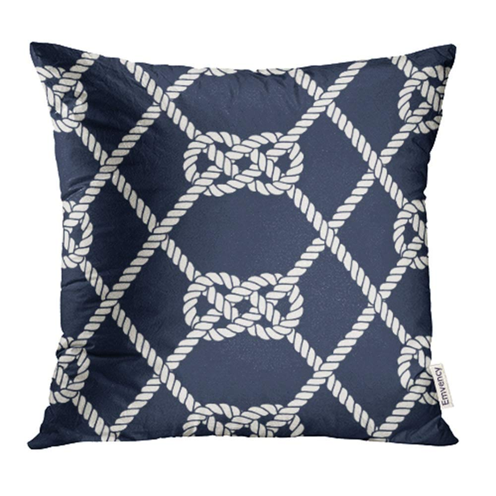 arhome nautical rope endless navy with white loop marine carrick bend knots on dark blue pillow case pillow cover 16x16 inch throw pillow covers