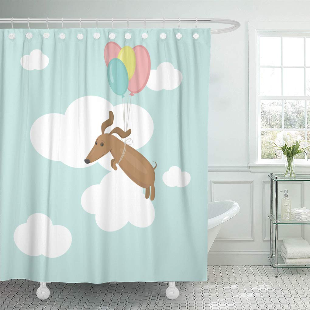 cynlon blue flying dog dachshund in printed on as composition brown bathroom decor bath shower curtain 66x72 inch