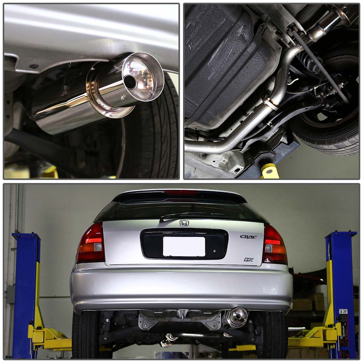 for 1996 to 2000 honda civic catback exhaust system 4 tip muffler 3 door hatchback ek 97 98 99