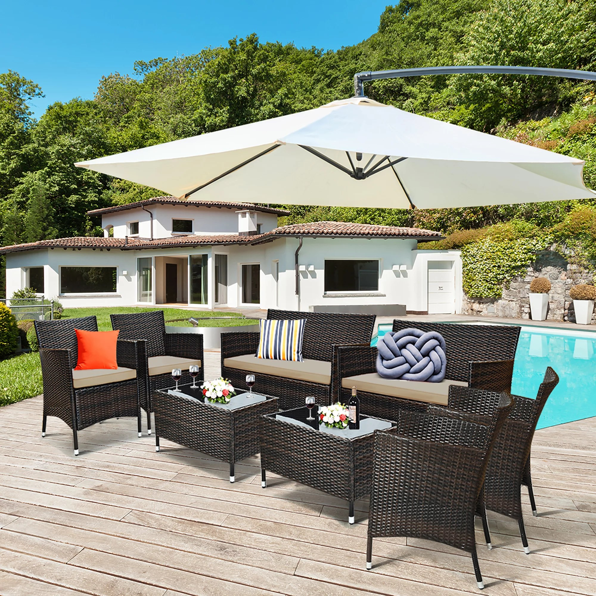 costway 8pcs rattan patio furniture set cushioned sofa chair coffee table red brown turquoise walmart com