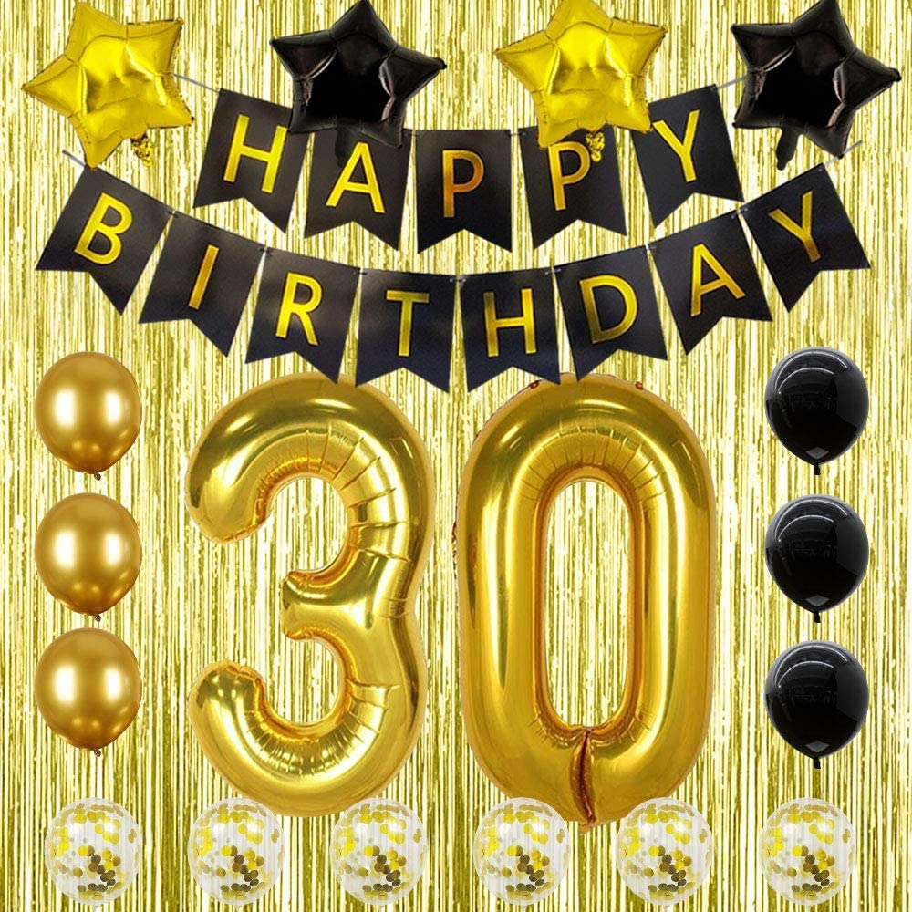 30th Birthday Decorations For Women Or Men Black Gold 30 Birthday Party Supplies Gifts For Her Him Dirty Thirty Walmart Com Walmart Com