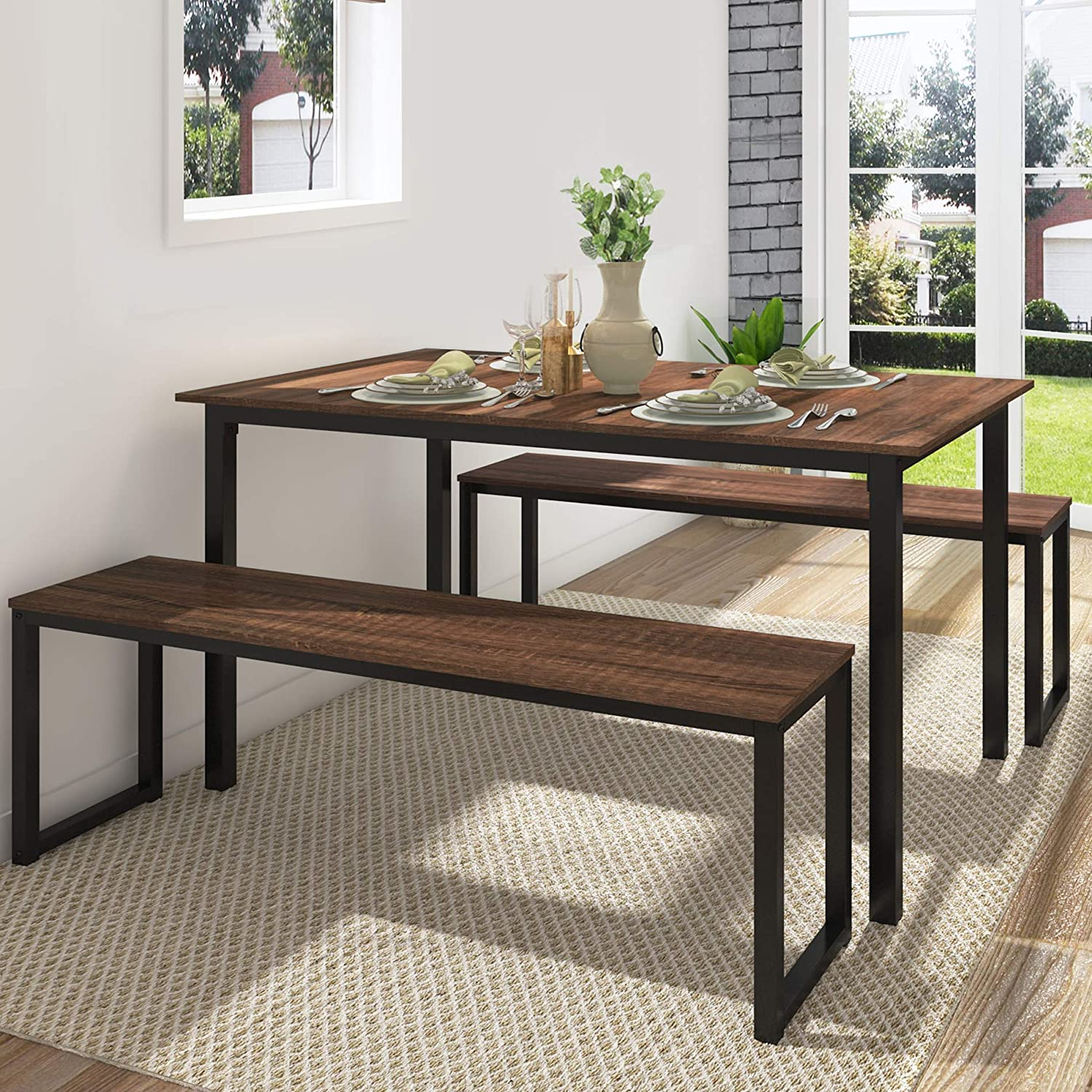 Fitueyes 3 Piece Dining Table Set With 2 Benches Industrial Brown Walmart Com Walmart Com