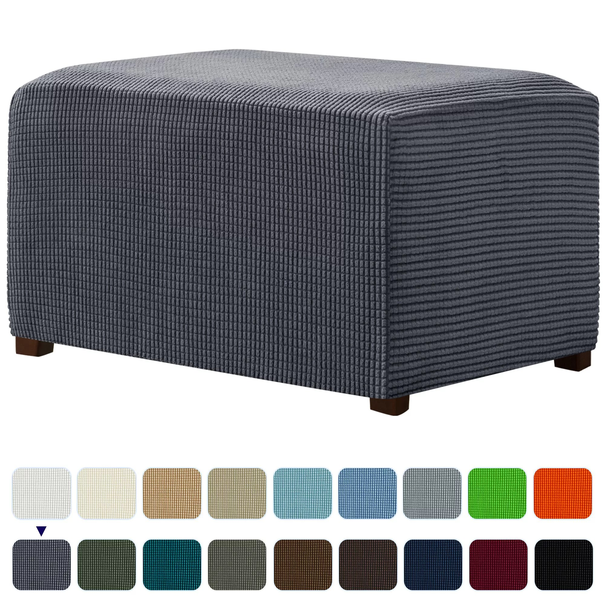 subrtex stretch storage ottoman slipcover protector soft elastic rectangle oversized ottoman cover footstool sofa slip cover removable footstool
