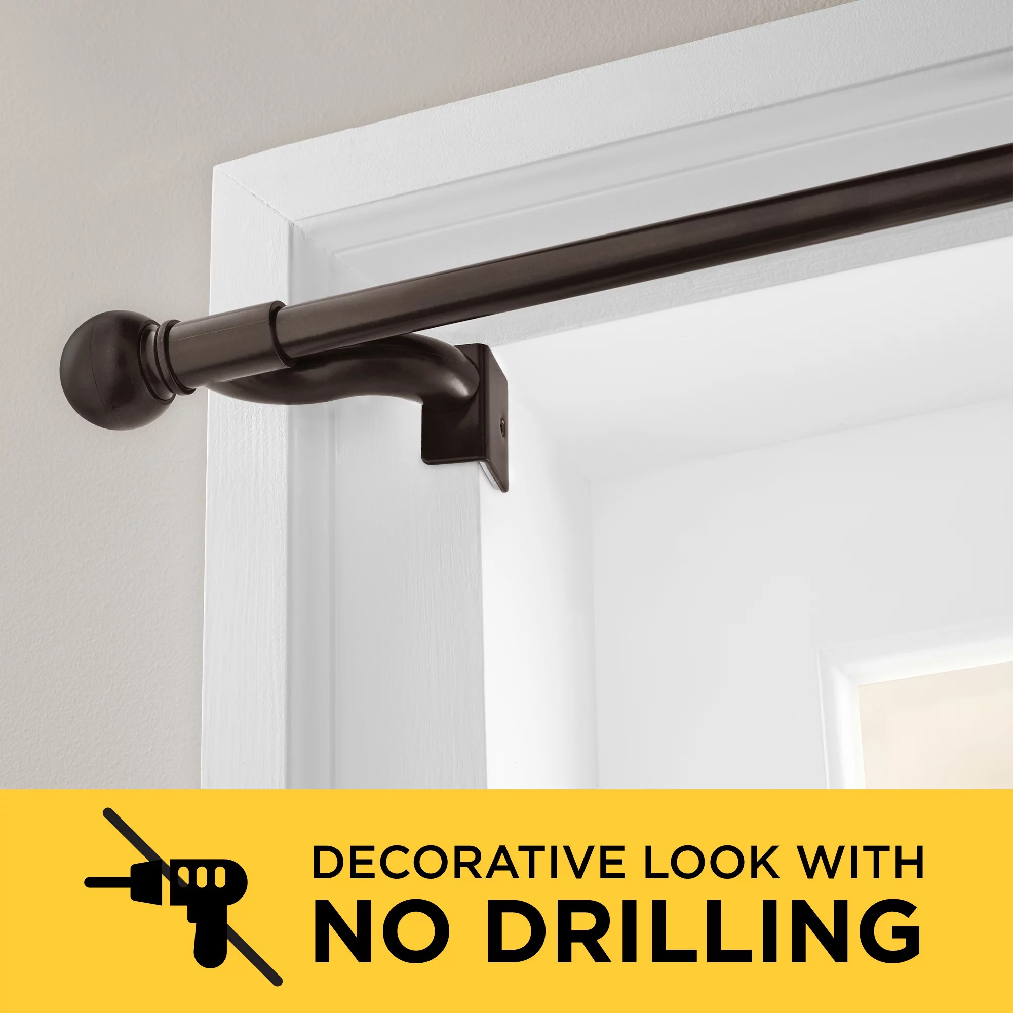 smart rods twist and shout no drill adjustable tension single curtain rod 48 84 oil rubbed bronze